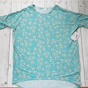 NWT LuLaRoe XL Irma Cream Roses on bright blue